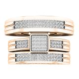 0.24 Carat (ctw) 14K Rose Gold White Diamond Men's & Women's Engagement Ring Trio Set 1/4 CT