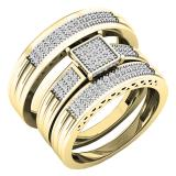 0.24 Carat (ctw) 14K Yellow Gold White Diamond Men's & Women's Engagement Ring Trio Set 1/4 CT