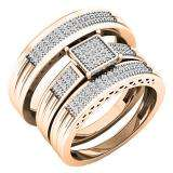 0.24 Carat (ctw) 18K Rose Gold White Diamond Men's & Women's Engagement Ring Trio Set 1/4 CT