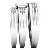 0.24 Carat (ctw) 18K White Gold White Diamond Men's & Women's Engagement Ring Trio Set 1/4 CT