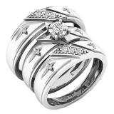0.18 Carat (ctw) 10K White Gold Round White Diamond Men & Women's Engagement Ring Trio Bridal Set