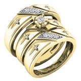 0.18 Carat (ctw) 10K Yellow Gold Round White Diamond Men & Women's Engagement Ring Trio Bridal Set