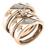 0.18 Carat (ctw) 18K Rose Gold Round White Diamond Men & Women's Engagement Ring Trio Bridal Set