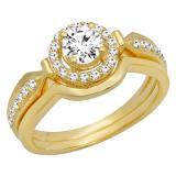 0.75 Carat (ctw) 18K Yellow Gold Round Diamond Ladies Bridal Engagement Halo Ring Band Set 3/4 CT