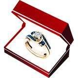 0.95 Carat (ctw) 14K Rose Gold Round Blue And White Diamond Ladies Engagement Ring Set 1 CT