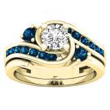 0.95 Carat (ctw) 14K Yellow Gold Round Blue And White Diamond Ladies Engagement Ring Set 1 CT