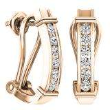 0.50 Carat (ctw) 10K Rose Gold Round Cut White Diamond Ladies Fashion Huggies Hoop Earrings 1/2 CT