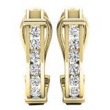0.50 Carat (ctw) 10K Yellow Gold Round Cut White Diamond Ladies Fashion Huggies Hoop Earrings 1/2 CT