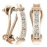 0.50 Carat (ctw) 14K Rose Gold Round Cut White Diamond Ladies Fashion Huggies Hoop Earrings 1/2 CT