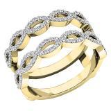 0.55 Carat (ctw) 14K Yellow Gold Round white Diamond Ladies Wedding Band Enhancer Double Ring 1/2 CT