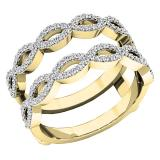 0.55 Carat (ctw) 18K Yellow Gold Round white Diamond Ladies Wedding Band Enhancer Double Ring 1/2 CT