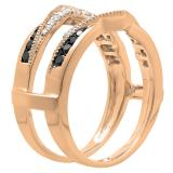 0.60 Carat (ctw) 10K Rose Gold Round White & Black Diamond Ladies Wedding Band Guard Double Ring