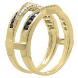 0.60 Carat (ctw) 14K Yellow Gold Round White & Black Diamond Ladies Wedding Band Guard Double Ring