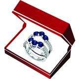 10K White Gold Round Cut 4 MM Blue Sapphire & White Diamond Ladies Wedding 3 Stone Double Band