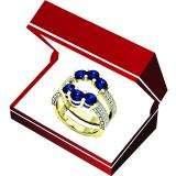14K Yellow Gold Round Cut 4 MM Blue Sapphire & White Diamond Ladies Wedding 3 Stone Double Band