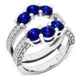 18K White Gold Round Cut 4 MM Blue Sapphire & White Diamond Ladies Wedding 3 Stone Double Band