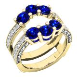 18K Yellow Gold Round Cut 4 MM Blue Sapphire & White Diamond Ladies Wedding 3 Stone Double Band