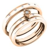0.12 Carat (ctw) 14K Rose Gold Round White Diamond Men & Women's Engagement Ring Trio Bridal Set