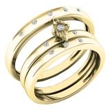 0.12 Carat (ctw) 14K Yellow Gold Round White Diamond Men & Women's Engagement Ring Trio Bridal Set