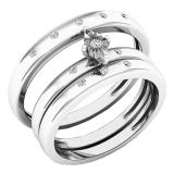 0.12 Carat (ctw) 18K White Gold Round White Diamond Men & Women's Engagement Ring Trio Bridal Set