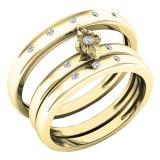 0.12 Carat (ctw) 18K Yellow Gold Round White Diamond Men & Women's Engagement Ring Trio Bridal Set