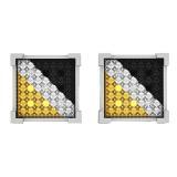 0.05 Carat (ctw) Sterling Silver Yellow, White & Black Diamond Kite Shape Mens Hip Hop Stud Earrings