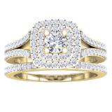 1.50 Carat (ctw) 10K Yellow Gold Round Cubic Zirconia Ladies Halo Style Engagement Ring Set 1 1/2 CT