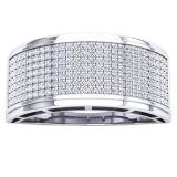 0.55 Carat (Ctw) 10K White Gold Round White Diamond Men's Hip Hop Anniversary Wedding Band 1/2 CT