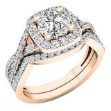 2.55 Carat (Ctw) 10K Rose Gold Round Cut Cubic Zirconia Ladies Halo Engagement Ring Set 2 1/2 CT