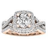 2.55 Carat (Ctw) 18K Rose Gold Round Cut Cubic Zirconia Ladies Halo Engagement Ring Set 2 1/2 CT
