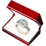 2.55 Carat (Ctw) 18K Rose Gold Round Cut Cubic Zirconia Ladies Halo Engagement Ring Set 2 1/2 CT
