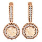 14K Rose Gold 6 MM Round Morganite & White Diamond Ladies Halo Style Millgrain Drop Earrings