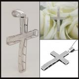 0.73 Carat (ctw) Sterling Silver Round White Diamond Mens Hip Hop Religious Cross Pendant 3/4 CT