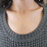 0.25 Carat (ctw) 10K White Gold Round Diamond Ladies Cross Pendant 1/4 CT (Silver Chain Included)