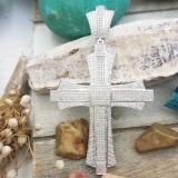 1.20 Carat (ctw) Sterling Silver Round Diamond Men's Hip Hop Religious Cross Pendant 1 1/4 CT