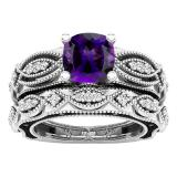 10K White Gold 7 MM Cushion Amethyst, Round Black & White Diamond Ladies Engagement Ring Set