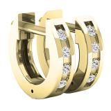 0.07 Carat (ctw) 10K Yellow Gold Round White Diamond Ladies Huggies Hoop Earrings