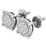 0.25 Carat (ctw) 10K White Gold Round White Diamond Ladies Flower Cluster Earrings 1/4 CT
