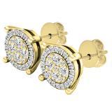 0.25 Carat (ctw) 10K Yellow Gold Round White Diamond Ladies Flower Cluster Earrings 1/4 CT