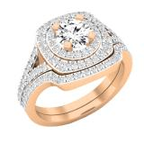 1.45 Carat (cttw) Round Diamond Ladies Double Halo Split Shank Engagement Ring 1 1/2 CT, 14K Rose Gold