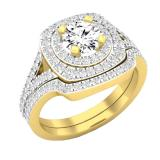 1.45 Carat (cttw) Round Diamond Ladies Double Halo Split Shank Engagement Ring 1 1/2 CT, 14K Yellow Gold