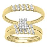 0.10 Carat (ctw) Round White Diamond Ladies & Men's Bridal Engagement Ring Trio Set Band 1/10 CT, 10K Yellow Gold