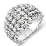 3.25 Carat (ctw) 14k White Gold Round Diamond Ladies Cocktail Right Hand Ring
