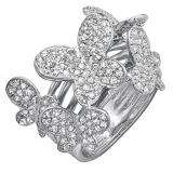 1.35 Carat (ctw) 18k White Gold Round Diamond Ladies Butterfly Cocktail Right Hand Ring
