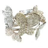 1.35 Carat (ctw) 14k White Gold Round Diamond Ladies 3 Tone Cocktail Butterfly Right Hand Ring