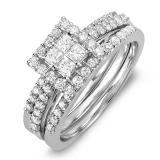 1.15 Carat (ctw) 14K White Gold Princess & Round White Diamond Engagement Bridal Ring Set