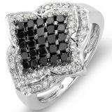 1.10 Carat (ctw) 10k White Gold Black & White Round Diamond Ladies Cocktail Ring 1 CT