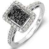 0.55 Carat (ctw) 10k White Gold Black & White Round Diamond Ladies Cocktail Right Hand Ring