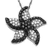 0.85 Carat (ctw) 10K White Gold Round Black and White Diamond Star Flower Ladies Pendant