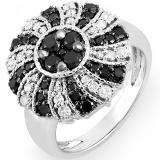 1.25 Carat (ctw) 14k White Gold Black & White Round Diamond Ladies Cocktail Right Hand